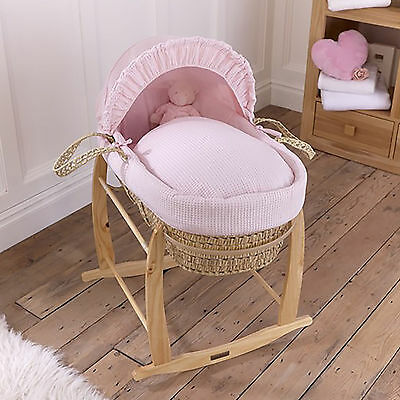 New Clair De Lune Pink Waffle Baby Girls Palm Moses Basket & Rocking Stand