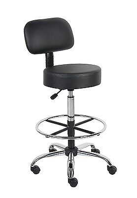 Boss Office Products B16245-BK Be Well Medical Spa Drafting Stool with Back, Bla