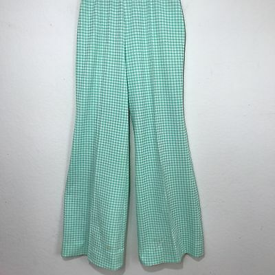 VTG Women's Graff Green & White Gingham checkered bell bottom pants M/L