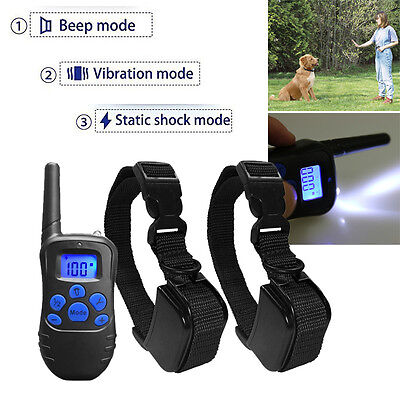 330 Yard Pet Dog Training Collar Rechargeable Electric LCD 100LV Shock 2 Collars