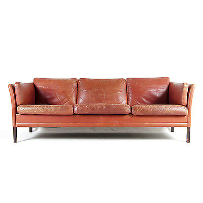 Retro Vintage Danish Large Rosewood 3 Seat Seater Leather Sofa 60s Mogensen 70s