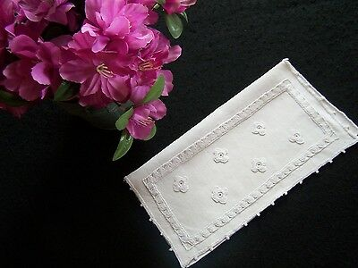 Antique Vintage French Hand Embroidered LINEN Glove Keeper HANKY Pouch