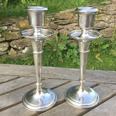 """Pair of 7"""" Solid Silver Candlesticks with Sconces, Birmingham 1914, CE Turner"""