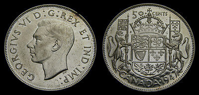 1947 Canada Silver Fifty 50 Cent Piece King George VI VF-35 ML
