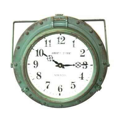 Antique Green Finish Ships Time Clock 1912 New York Label Wall Port Hole