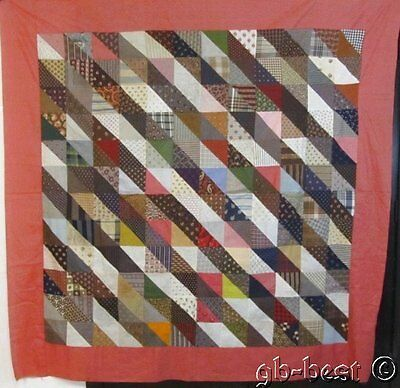 A Fabric Treasure ~ 1870s Pyramids FURROWS Antique Quilt Top CONVERSATION Prints