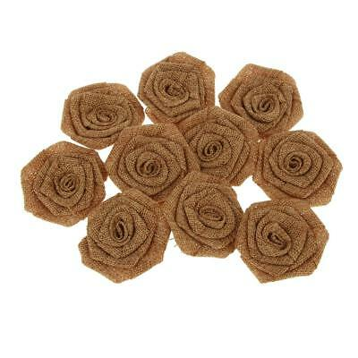 10x Hand-made Rustic Rose Wedding Burlap Hessian Vintage Decor Brown