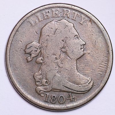 1804 SPIKED CHIN Draped Bust Half Cent CHOICE FINE+/VF FREE SHIPPING E100 CTM