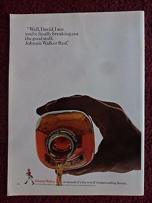 1966 Print Ad Johnnie Walker Red Label Whisky ~ Finally Breaking Out Good Stuff