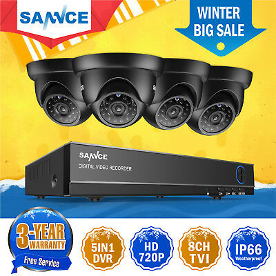 SANNCE 8CH 720P DVR Outdoor Night Vision CCTV Security Camera System Waterproof