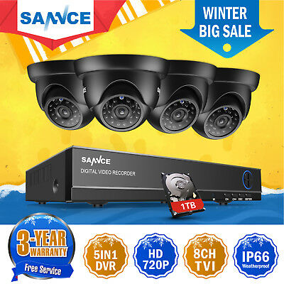 SANNCE 8CH 720P DVR 1500TVL Outdoor Dome CCTV Video Security Camera System 1TB