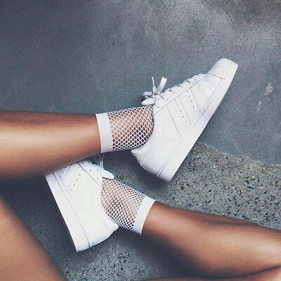 White Fishnet Ankle High Socks Lady Mesh Lace Fish Net Short Socks Women