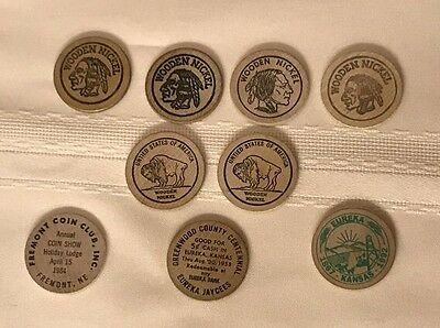 Vintage Wooden Nickel Collection - Indian, Buffalo, Eureka, Fremont,Greenwood