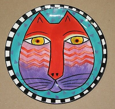 Laurel Burch cat plate 8 inch red face blue background