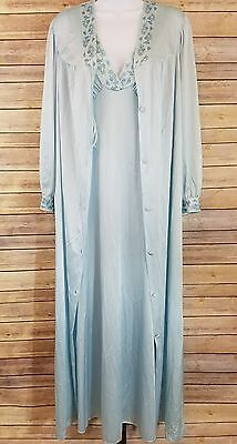 VTG 70s Vanity Fair Outlet Womens Petite Blue Floral Nightgown & Matching Robe