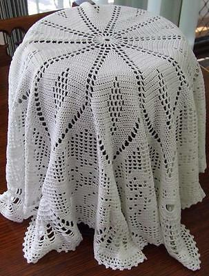 Very Large White Round Hand Crocheted Occasional Tablecloth/Centre - 75 cm dia.