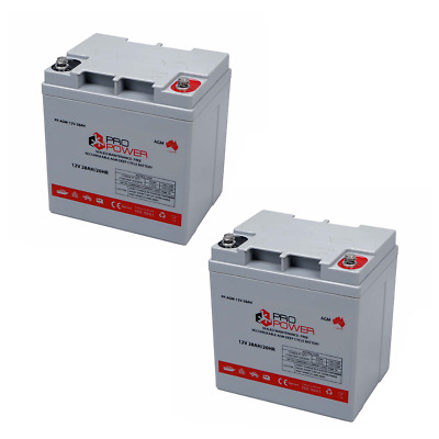 2 x Pro Power 12V 28AH AGM Deep Cycle Battery Caravan 4WD Boat Solar System