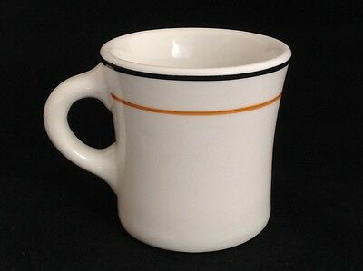 RARE 1920's To 1950's Shenango China Inca Ware 8oz Mug Black Orange Stripe Diner