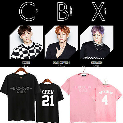 EXO-CBX GIRLS T-SHIRT Unisex TSHIRT TEE Short Sleeve CHEN BAEKHYUN XIUMIN Cotton