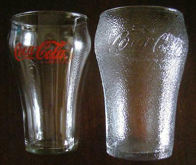 2 Coca Cola Coke Glasses vintage frosted dimple textured old rare  red writing