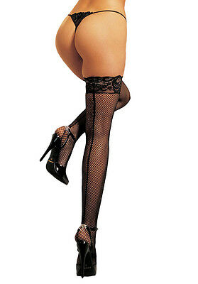 Fishnet Stay Up Thigh High Stockings With Back Seam And Lace Top