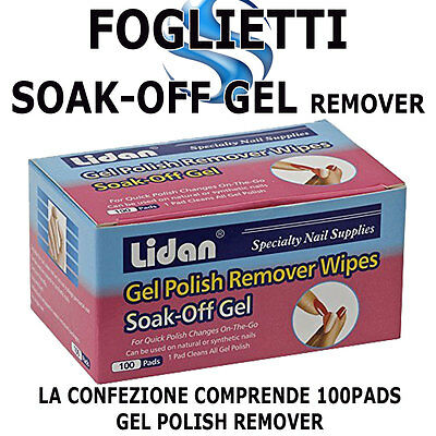 100 Cartine Fogli Gel Polish Remover Pad Soak Off Smalto Semipermanente Nail Art