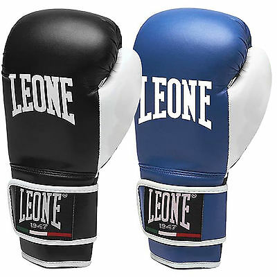 Leone Flash Unisex Adults Leather Sparring Training Boxing Gloves - Black / Blue