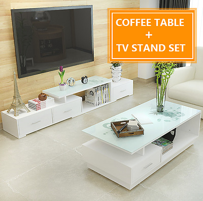 TV Stand Entertainment Unit Cabinet And Coffee Table Set With Tempered Glass