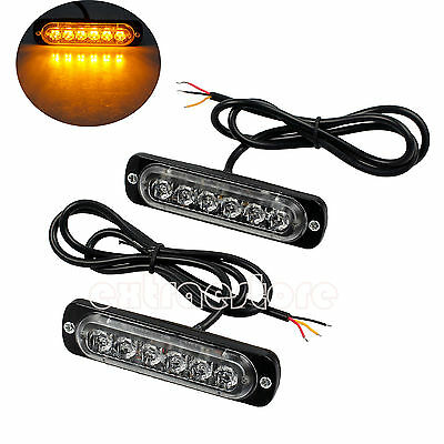 2x12/24v AMBER RECOVERY STROBE 6 CREE LED LIGHTS BREAKDOWN FLASHING ORANGE GRILL