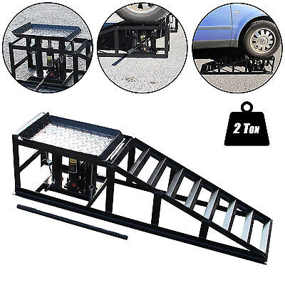 Tech7 Vehicle Car Ramp Lift 2 Ton Hydraulic Jack Garage Heavy Duty Black Single