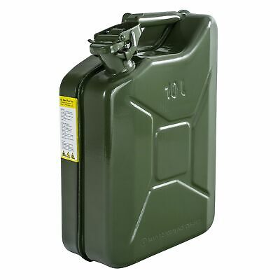 10L Tall Fuel Diesel Petrol Oil Water Steel Jerry Can With Baylent Cap - Green