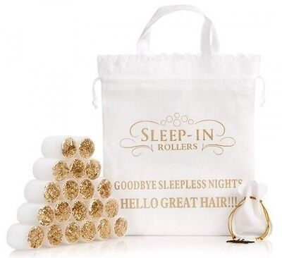 Sleep In Rollers WHITE & GOLD GLITTER Gift Set in Box - 20 Rollers, Bag, Clips