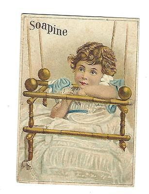 Old Trade Card SOAPINE Kendall Manufacturing Co Providence Rhode Island Girl Bed
