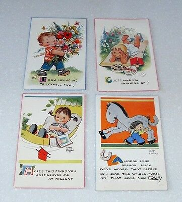 Vintage 4 Mabel Lucie Attwell Postcards By Valentines All In Nice Condition