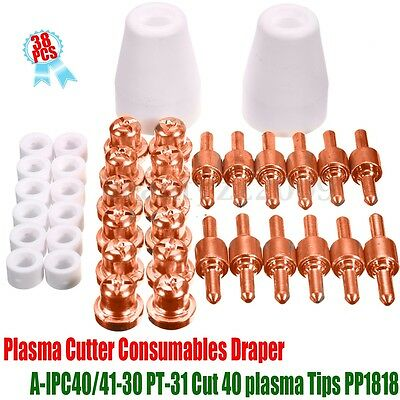 38Pcs Plasma Cutter Consumable Electrodes Tips For PT-31 Cutting Torch CUT40