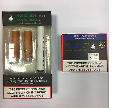 E CIGARETTE STARTER KIT WITH 18Mg RICH TOBACCO CARTOMIZERS  VIP COMPATIBLE