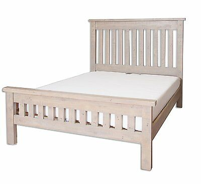 "Melbourne Reclaimed White Washed Solid Pine 4' 6"" Double Bed Frame"