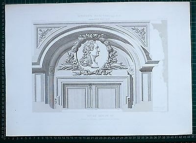 1880 French Architecture Print Style Louis Xv Porte Du Musee Manufacture Sevres