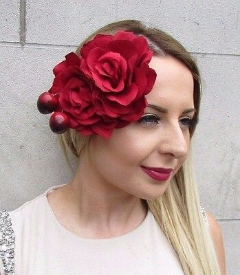 Large Double Cherry & Red Rose Flower Hair Clip Rockabilly 1950s Fascinator 2858