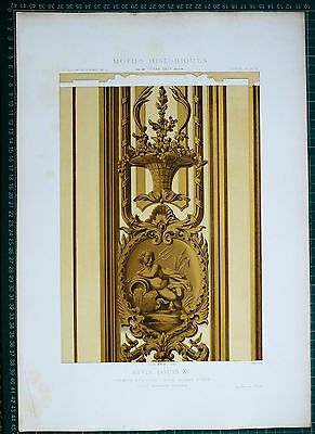 1880 French Architecture Print Style Louis Xv Chambre A Coucher Hoterl Soubise