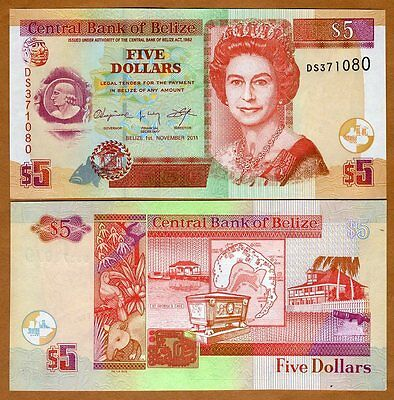 Belize, 5 Dollars, 2011, QEII, Pick 67e, UNC