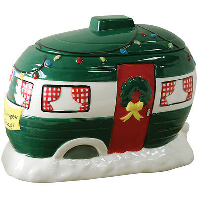 NEW Decorative Retro Happy Camper Christmas Holiday Themed Ceramic Cookie Jar