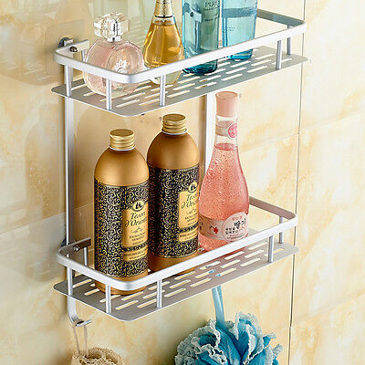 No Drilling Bathroom Shelf  Shower Caddy Shelf  Rack Wall Mount Shelf 1/2/3-Tier