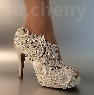 """3"""" 4"""" heel satin white ivory lace pearls open toe Wedding shoes bride size 5-9.5"""