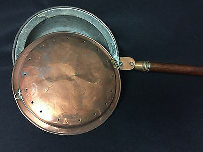 EARLY FRENCH COPPER BED PAN,WARMER,ORIGINAL WOOD HANDLE,1700s? 1800s? BEAUTIFUL