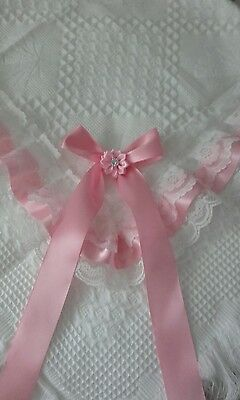 beautiful pure white/pink baby shawl **NEW**