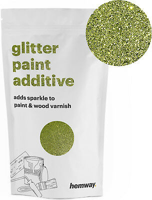 Hemway Lime Green Crystal Glitter for emulsion wall paint 100g sparkle DIY UK