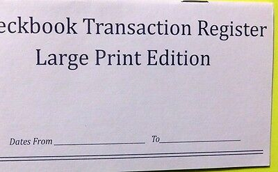 (10 LARGE PRINT CHECK REGISTERS - Great for low vision.