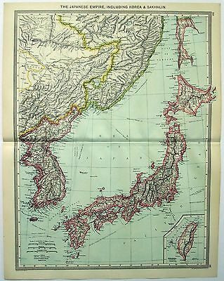 Original Map of The Japanese Empire c1906 by George Philip & Sons