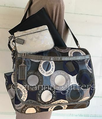 Coach L Alexandra Snaphead Blue Multi Diaper Baby Multifunction Tote Bag F18377
